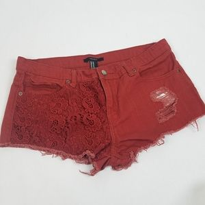 Forever 21 red distressed crochet lace shorts 30